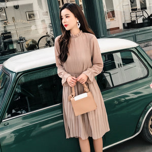 High Waist With Belt Casual Dress