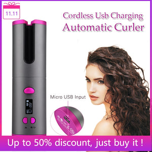 Automatic Hair Curler Auto Ceramic Wireless with USB Cordless