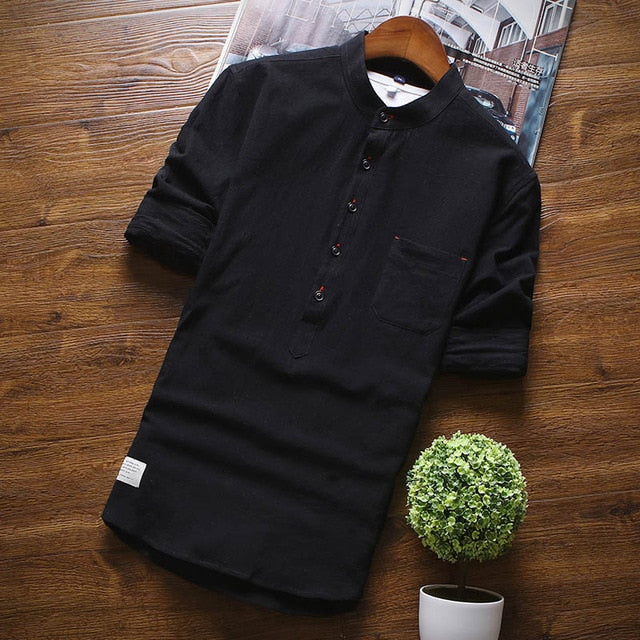 Half Sleeve Shirts, Stand Collar for Men