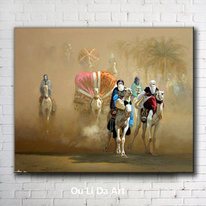 classical figures Arab desert camel tree landscape oil paintings canvas printing printed on canvas wall art decoration picture