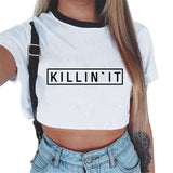 Unicorn Letter Printed Crop Top