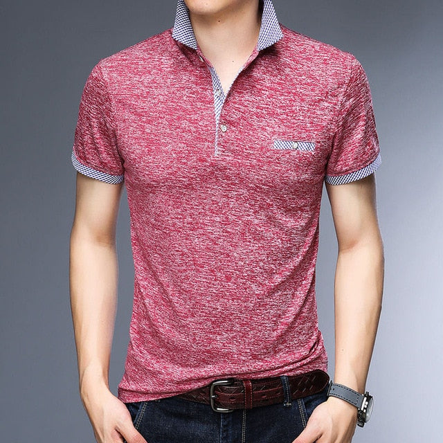 Men Business Office Shirt, Casual, Breathable Polo Shirt
