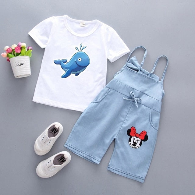 1-6Y Two Piece Set Cartoon Animal Print for Girls