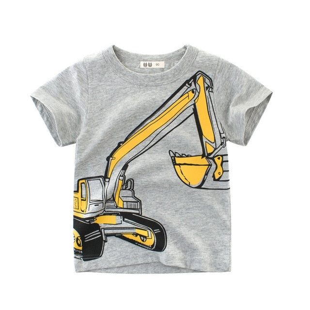Brand Summer Top Baby Boy T Shirt Excavator Embroidery Gray Short Sleeve Boys T Shirt Pure Cotton Kids Clothes 2-9Y