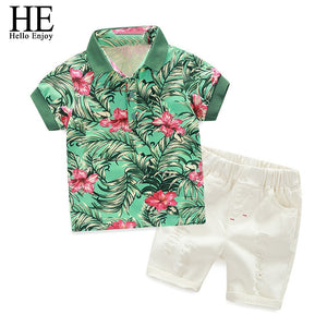 Kids Clothes Active Boys Sets Summer Short Sleeve Floral Shirts+Shorts Suits Pants 2 pieces Clothing Children 2019