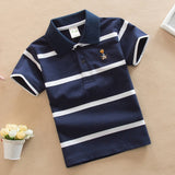 T Shirt Kids Clothes Turn-down Collar Baby Boy Summer Top Tshirt Color Stripes
