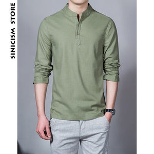 Long Sleeve Solid Color Stand Collar Chinese Shirt