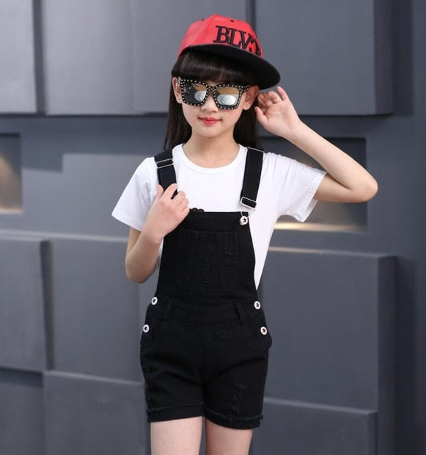 New Children Clothing Casual Kids suspender trousers Solid Girls jeans short 3-11 Y