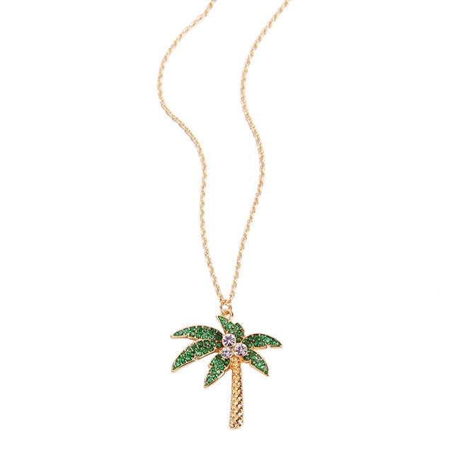 Flamingo Pineapple Crystal Pendant Necklace