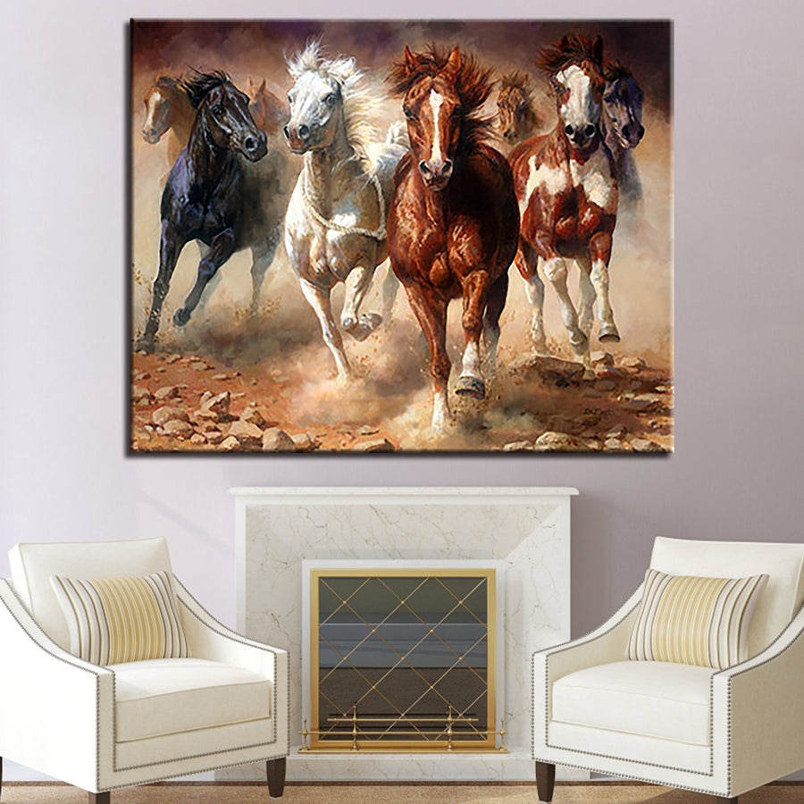 Running Horses DIY Painting By Numbers Kits Drawing Animal Oil Pictures Handpainted Coloring On Canvas For Home Decor Wall Art