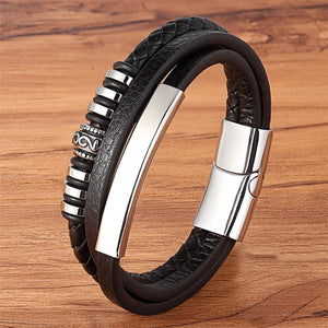 Geometrically Irregular Graphics Stainless Steel Genuine Leather Bracelet