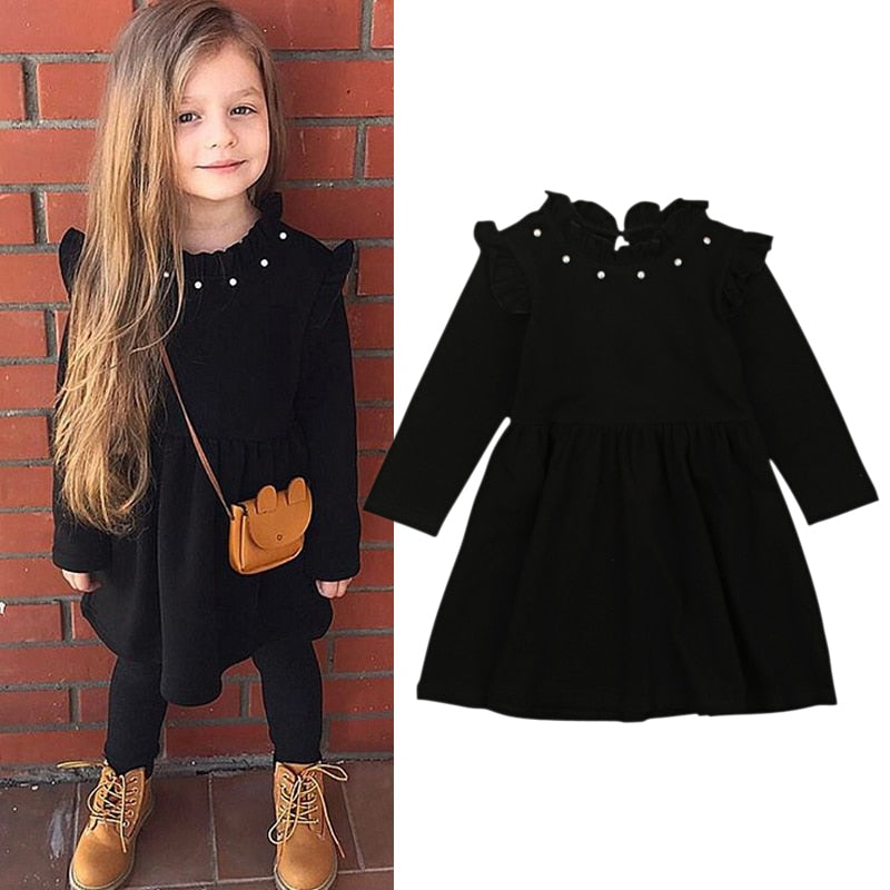 New Arrival Kids Girls Knitted Long Sleeve Black Dress Clothes 2018 New Winter Casual Black Children Dresses