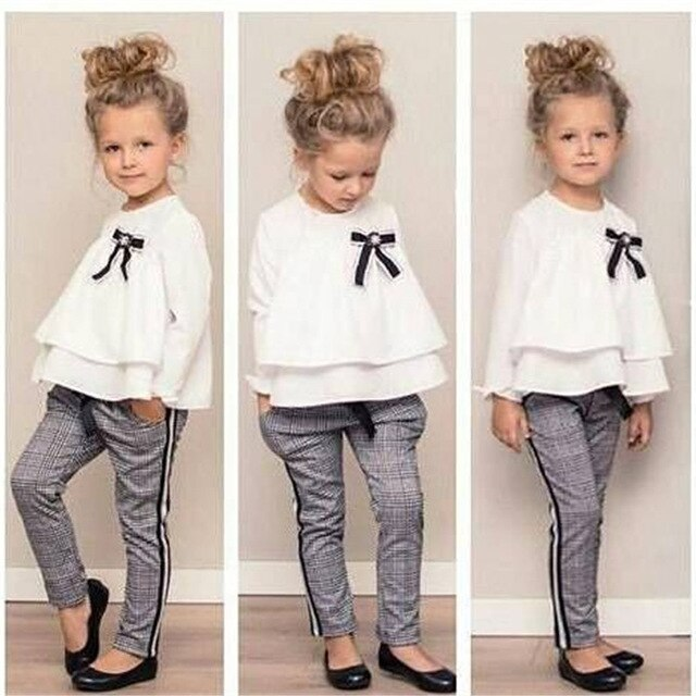 Girls Outfits Ruffle T Shirt Tops+Checked Pants Clothes Set