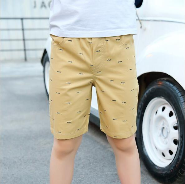 boys cotton knee length shorts kids beach shorts child sports pants for 4-15T summer trousers teenage shorts