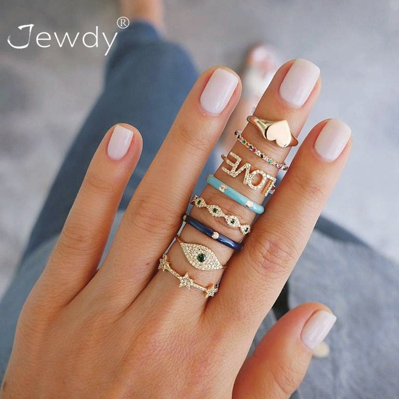 8 Pcs/ Set Bohemian Crystal Rings for Women