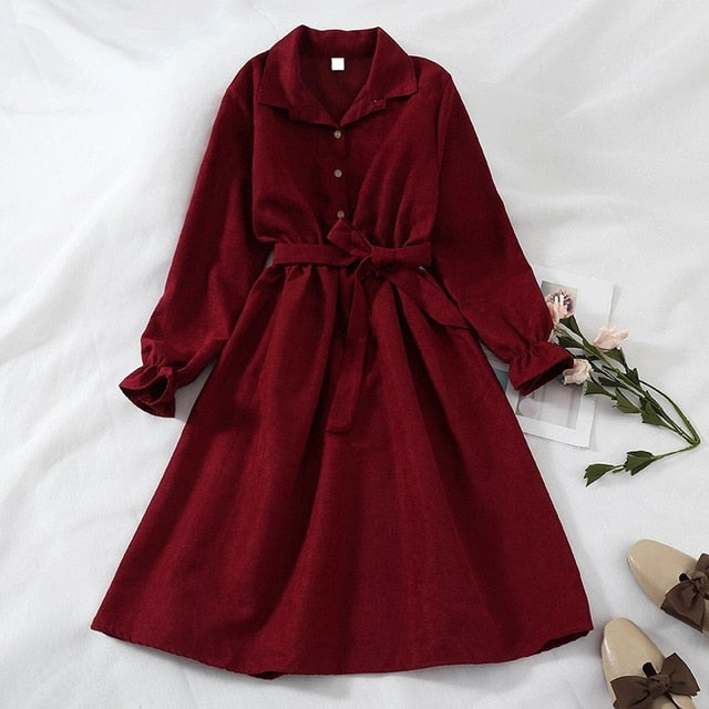 Winter Dress Women Turn Down Collar Long Flare Sleeve Sashes High Waist Mori Girl 5 Solid Colors Vintage Dress
