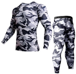 Camouflage T-shirt Mens Running Compression set