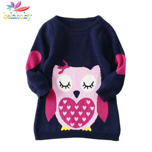 Long Sleeves Knitted Owl Print Sweater