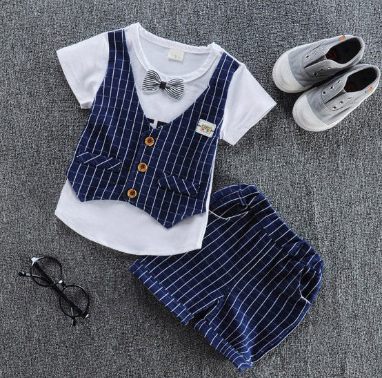 Casual T-shirt with vest+ pant 2Pcs/set boys fashion summer sets.