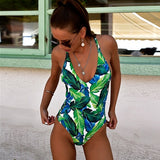 One Piece Swimsuit, Backless, Vintage Print