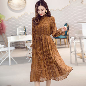 O-neck Print Chiffon Dress with Flare Full Sleeve A-line