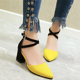 Pointed Square Heels Sandals