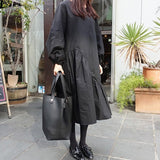 O Neck Puff Sleeve Loose Patchwork Black Dress