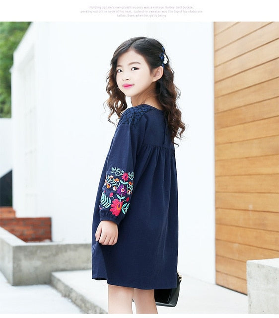 Girls cute embroidered long sleeves dress 2019 autumn new large children's cotton lantern sleeve doll dresses kids clothes