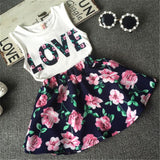 Summer baby girls clothing set children Love printed T-shirt+Floral Skirt 2pcs suit kids clothes set 2-7