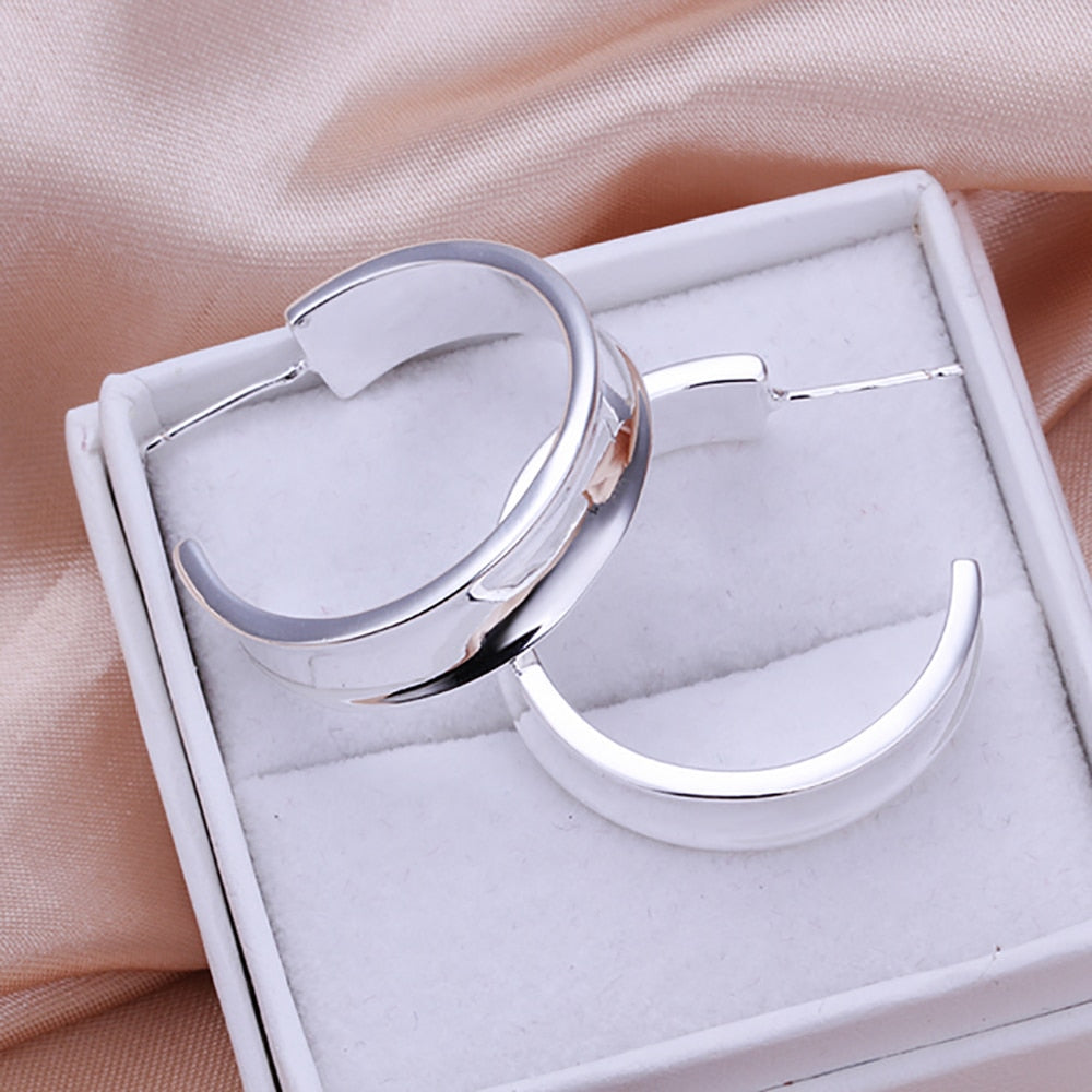 Silver Plated Smooth Circle Earrings