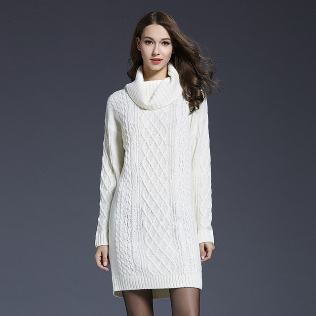 Knitted Long Sleeve Turtleneck Casual Sweater