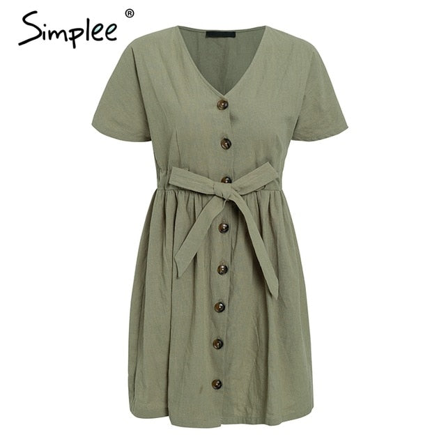 Vintage V Neck Short Sleeve Cotton linen Short Summer Dress