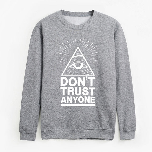 Dont Trust Anyone winter fleece hoodies All Seeing Eye sweatshirt men pullovers