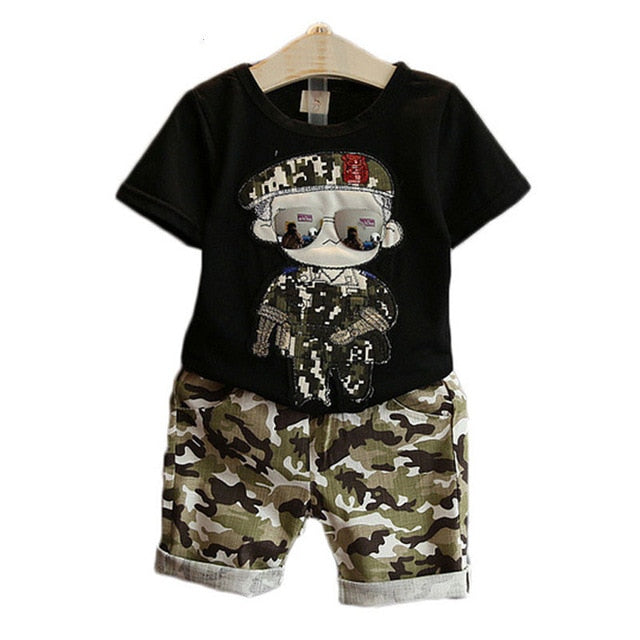 Children's Clothes 2019 Summer Kids Short Sleeves T-Shirt + Camouflage Shorts Suits Toddler Boys Clothing Sets