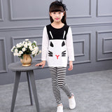 spring and autumn toddler girl clothing sets children clothes kids top with bow+striped leggings 2pcs