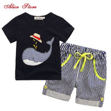 80-130cm Cotton Kids Boys Clothes Children Clothing Sets Summer Baby Boy Clothes Cute Whale Children's Sets T-Shirt Denim Pants