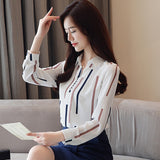 Long Sleeve Stripped Blouse