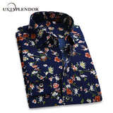 Retro Floral Printed, Breathable Long Sleeve Casual Shirts