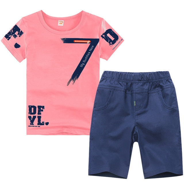 Boys Sport Suit Set Casual Short Sleeve O-neck 2 Pieces T-Shirt + Pants