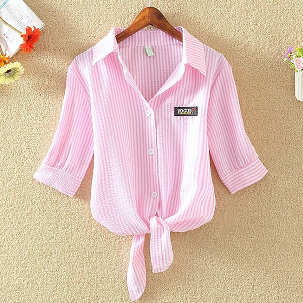 Summer Chiffon Short Sleeve Casual Blouse