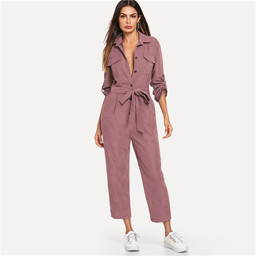 Casual Button Detail Shirt Roll Up Sleeve Belted Jumpsuit