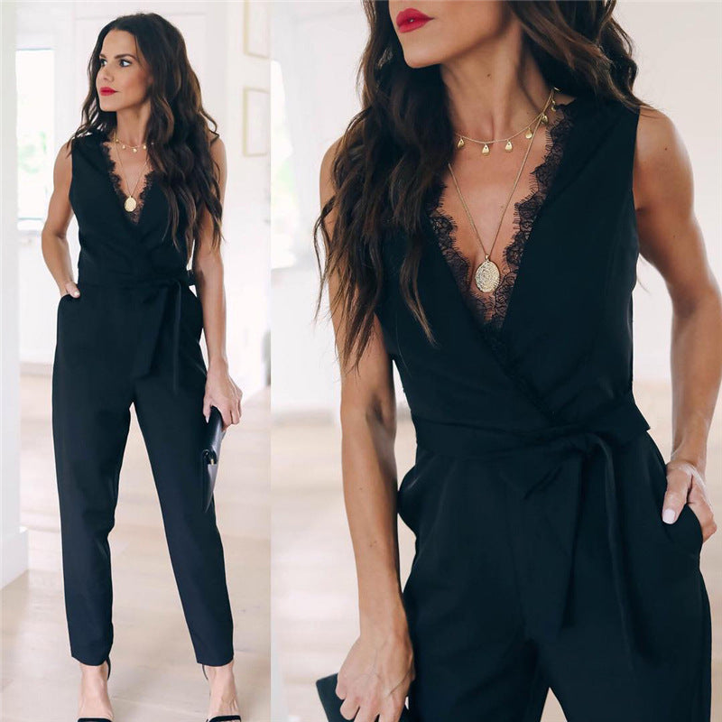 Women Sleeveless Play suits Black V Neck Belt Casual Elegant Pockets Lace Overall