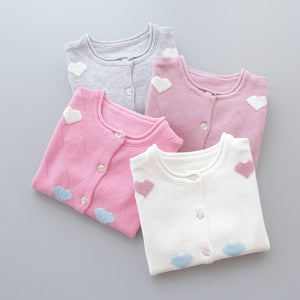 Cotton Knitted Cute Hearts Sweater