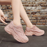 Chunky Lace Up Pink Shoes
