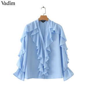 Ruffled Chiffon Blouse V Neck Long Sleeve Shirt