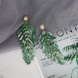 Long Dangle Resin Green Leaves Earrings