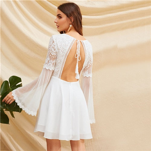 White V-Neck Knot Backless laced Mesh Sleeve Dress
