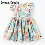 Dream Cradle European and American Shopping Mall Quality  ! Brand Banana leaf Print ,Baby Girls Dress ,Children Wear