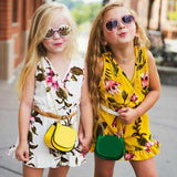 Summer Fashion Cool Vogue Stylish Kids Girls Twins Sisters Belted Sleeveless V Neck Floral Romper Outfits Clothes Age 1-6 Year