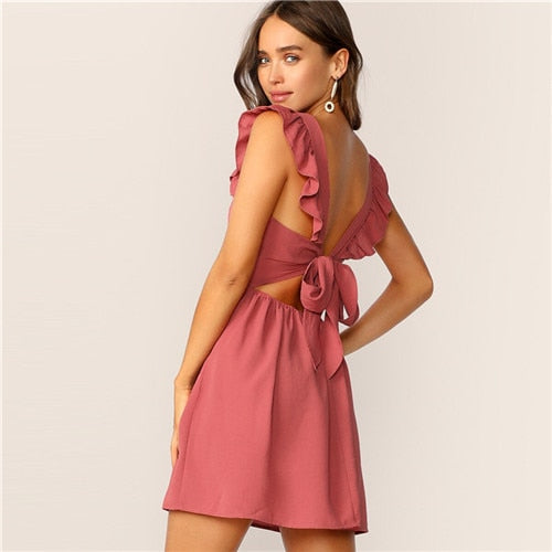 Pink Tie Back ruffle Strap Fit and Flare Sleeveless Glamorous Dress